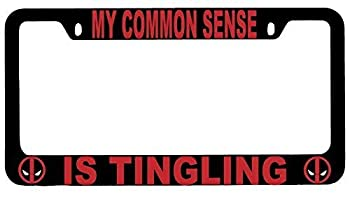 First Rober My Common Sense is Tingling Black Metal License Plate Frame Deadpool