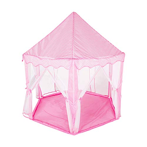 Tents Pink Kids Playhouse, Fun Games Play Yurt for Girl - Dream for Kids - Hexagon Indian Teepee (Color : Pink, Size : 140 * 135CM)