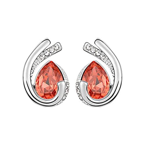 Serria Regalos para Mujeres, Pendiente de botón de Diamante para Niñas, Regalos de Cumpleaños para San Valentín el día de la Madre para Mamá Esposa Novia (Roja)
