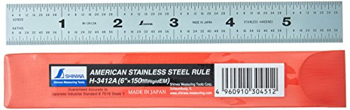 "Shinwa H-3412A 6"" 150 mm Rigid English Metric Zero Glare Satin Chrome Stainless Steel E/M Machinist Engineer Ruler/Rule with Graduations in 1/64, 1/32, mm and .5 mm"