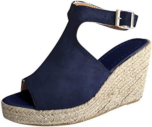 DMWMD Femmes Plateforme Sandales de Coin, Coins en Simili Cuir Sandale Boucle Sandale, Femmes Sandales de Plate-Forme Heel Espadrille (Color : Blue, Size : 41)