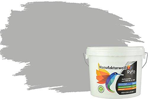 RyFo Colors Bunte Wandfarbe Manufakturweiß Delphingrau 6l - weitere Grau Farbtöne und Größen erhältlich, Deckkraft Klasse 1, Nassabrieb Klasse 1