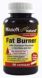MASON NATURAL, Fat Burner with Chromium Picolinate L-carnitine and Iron Capsules - 60 Count