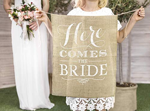Mellilu Banner für die Braut Hochzeit Here Comes The Bride Jute 41x51cm Hochzeitsbanner
