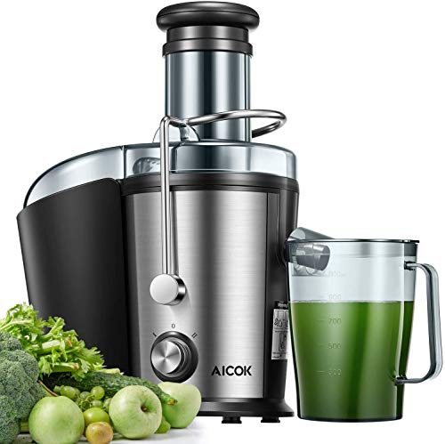 Juicer, Aicok Juice Extractor Easy to Clean, 800W Centrifugal Juicer Machine with 3''Wide Mouth for Whole Fruits & Vegetables, 2 Speed Control, Stainless Steel & Anti-drip, Non-slip feet, BPA Free