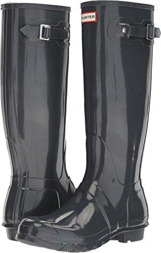 HUNTER Women's Original Tall Gloss Rain Boots, Dark Slate, 8 M US