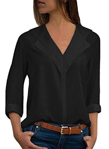 Aleumdr Bluse Damen v Ausschnitt Langarm Causal einfarbig Oberteil Shirt Freizeit Tunika mit Knopf Hemd Oberteile Loose Vintage Schwarz XL