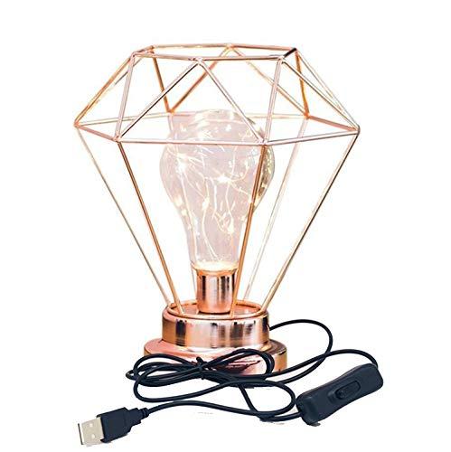 Diamond Form Schreibtischlampe,SUAVER USB-betriebene Eisentischlampe nordischen Stil Nachttischlampe Metall Tischlampe Nachtlicht dekorative Beleuchtung für Schlafzimmer,Hotel (Roségold)
