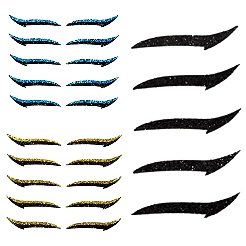 OWSEN 5 Pairs Eyeliner Stickers for Eyes,Reusable Adhesive Eyeliner Reusable Eyelid Makeup Stickers Instant Outline Winged Lid Cosmetic Easy Quick Application (Black+Blue+Gold)