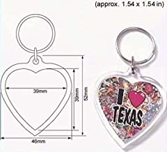50 Pcs of Blank Clear Heart Shaped Acrylic Keyring with Dia.39mm (Approx. dia. 1.34 inches) Photo Insert Craft Keychain 9015