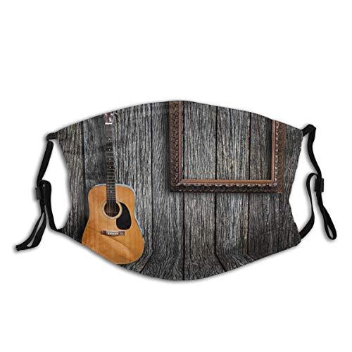 Gitarre und Bilderrahmen, Half Face Mundschutz Anti Dusts Baumwolle Winddichte wiederverwendbare Sturmhaube für Frauen Männer