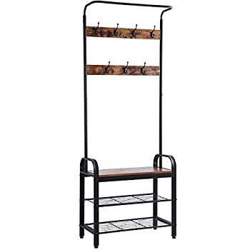 Sunnyglade Vintage Coat Rack Shoe Bench Hall Tree Entryway Storage Shelf Wood Look Accent Furniture Metal Frame 3 in 1 Design Easy Assembly