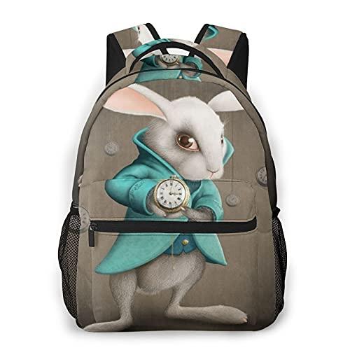 Rucksack für Teens Männer Frauen Speicherpaket,Weißes Eleganz-Kaninchen zeigt die Uhr an,Beiläufig Schülertasche Reise-Laptop-Tagesrucksack
