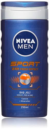 Nivea Men 4er Pack Duschgel für Körper, Gesicht & Haar, 4 x 250 ml Flasche, Sport