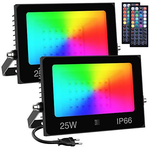 Olafus 2er 25W RGB LED Strahler, Farbig Fluter mit 44 Tasten Fernbedienung, 30 Farben Farbwechsel Flutlicht mit Timing, IP66 Wasserdicht Außenstrahler RGB, Memoryfunktion für Garten Party Innen Außen