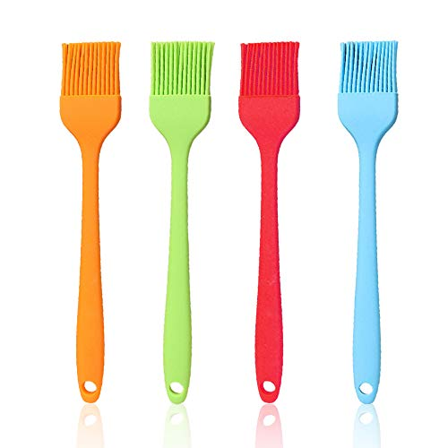 4 Pcs/set Basting Brush Silicone Heat Resistant Pastry Brushes for Spread Oil Butter Sauce Marinades BBQ Grill Barbecue Baking Kitchen Cooking