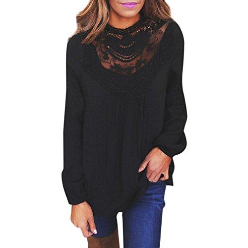 Top à manches longues en dentelle Femmes, Toamen Sexy Décontractée T-shirt à col rond Dames (L, Noir)