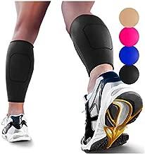 Calf Compression Sleeves by SPARTHOS (Pair) – Leg Compression Socks for Men and Women – Shin Splint Calf Pain Relief Air Travel Flight Nurses Maternity Basketball Football Soccer (Black-XL)