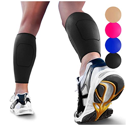 Calf Compression Sleeve by SPARTHOS (Pair) – Leg Compression Brace for Men and Women – Shin Splint Calf Pain Relief Calves Blood Circulation Sports Support Running Walking Cycling Yoga (Black-M)