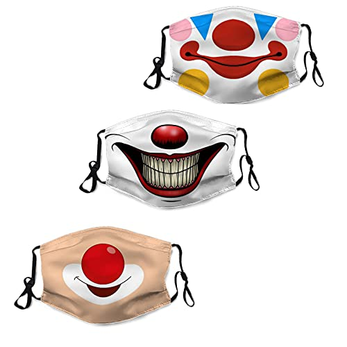 3PCS Men's Women's Halloween Mask Family Set Anime face Masks Washable Repeatable Adjustable Ear Hoop Masks Kids/Adults Balaclava -09
