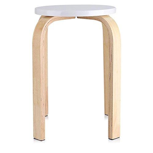 Estink Holzhocker, Anti-Rutsch Holz Sitzhocker Stapelhocker Wohnzimmer Hocker Küchenhocker, 17.9 x 11.8 Zoll(Weiß)