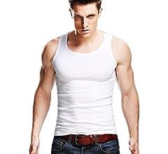 Xudian mens Tank Top Stretchy Athletic Sleeveless Shirt Crewneck US S//Asian L Light Grey