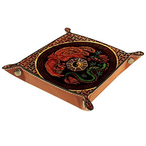 FCZ Phoenix And Dragon With Bagua - Bandeja de piel para guardar carpetas (20 x 20 cm)