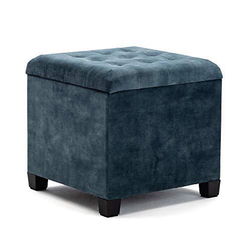 HNNHOME Pouf Cubo Poggiapiedi Sgabello Contenitore Cassapanca, Cubo da 45 cm, velluto, Foglia Di T