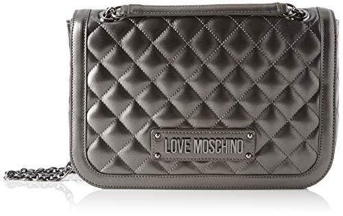 Love Moschino Unisex-Erwachsene Jc4000pp18la0906 Kuriertasche, Grau (Fucile), 19x6x28 Centimeters