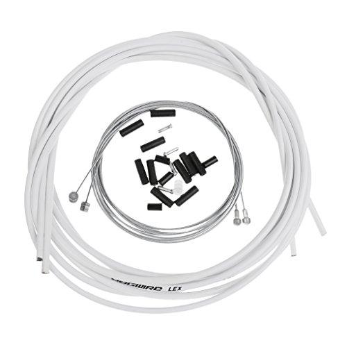 MagiDeal Fahrradbremse Kabelsatz 2,5 m Bremszughülle inkl. Bremszüge Endhülsen & Endkappen - Weiß