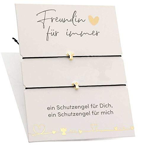 Himmelsflüsterer - Freundschaftsarmband Set | Beste Freundin Geschenke für Frauen | Geburtstagsgeschenke für Mama, Schwester, Freundinnen | Damen Armband, Farbe:Gold - Schutzengel