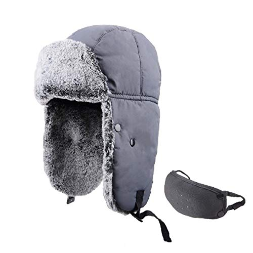 TRIWONDER Sombrero de Soldado de Esquí Térmico Invierno Gorros de Aviador Ruso Ushanka Gorras al Aire Libre (Gris - Piel De Conejo)