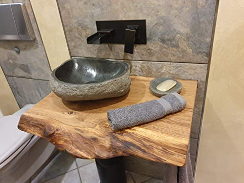 Waschtischplatte Eiche massiv Baumkante geölt Waschtisch Holz (60 x 40 cm) - 5