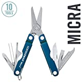 LEATHERMAN, Micra Keychain Multitool with Spring-Action Scissors and Grooming Tools, Stainless Steel, Built in the USA, Blue