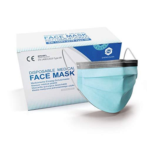 50 Stück Einweg-Maske Atemmaske EN 14683 Typ II R - Masken geprüfter Qualität nach EU-Normen mit Zertifikaten - 98% BFE - Masks with Earloop - Atemschutzmasken Mundschutz-Masken