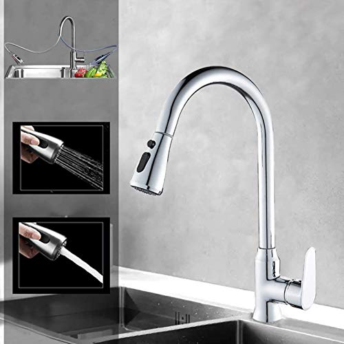 Kitchen Faucet, Sccot Kitchen Sink Mixer Tap with Pull Down Sprayer, 360 Degree Rotation Solid Brass Kitchen/Bar Sink Faucet Tap, High Arc Hot and Cold Water Sink Taps, Chrome
