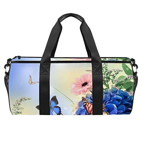 TIZORAX Mariposas En Azul Hortensias Banquete Gimnasio Duffle Bag Drum Tote Fitness Travel Bag Rooftop Rack Bag