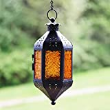Decorative Hanging Candle Lantern for Spring Decor, Amber
