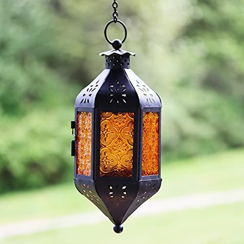 Vela Lanterns Decorative Candle Lantern Holders, Hanging with Chain, Amber Glass