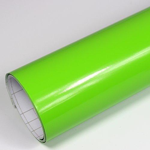 Rapid Teck® 5,26€/m² Premium – Glanz Grün 50cm x 1,52m Auto Folie Blasenfrei mit Luftkanälen für Auto Folierung und 3D bekleben in Matt Glanz und Carbon Autofolie