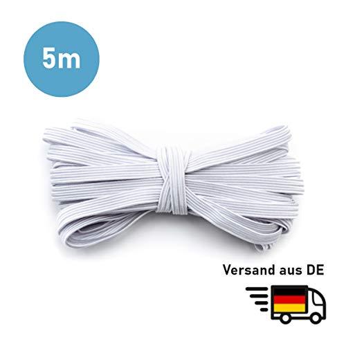 MAGATI Gummiband - elastische Flache kochfeste Gummilitze zum Nähen, Basteln von DIY Community-Masken, Behelfsmasken, Mund-Nasenbedeckungen (Hellgrau, 5m x 3mm)