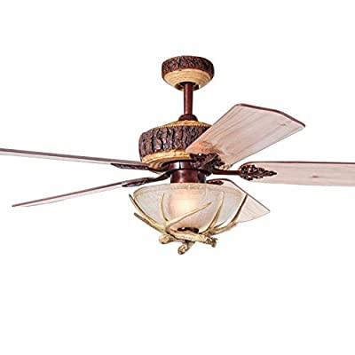 Tropicalfan Rustic Ceiling Fan With 1 Light Cover Indoor Home Decoration Living Room Antlers Silent Industrial Fans Chandelier 5 Wood Blades 48 Inch
