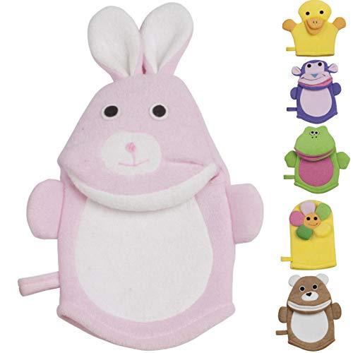 4 Stück Waschlappen mit Tiermotiven Duschhandschuh für Baby Kinder Handpuppe lustige Tiere Kinderwaschlappen mit Aufhängeschlaufe weicher Badehandschuh Waschhandschuh weich und angenehm