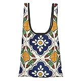 Bolsa de la compra con diseño mexicano de Talavera, cómoda, moderna, reutilizable, respetuosa con el medio ambiente.