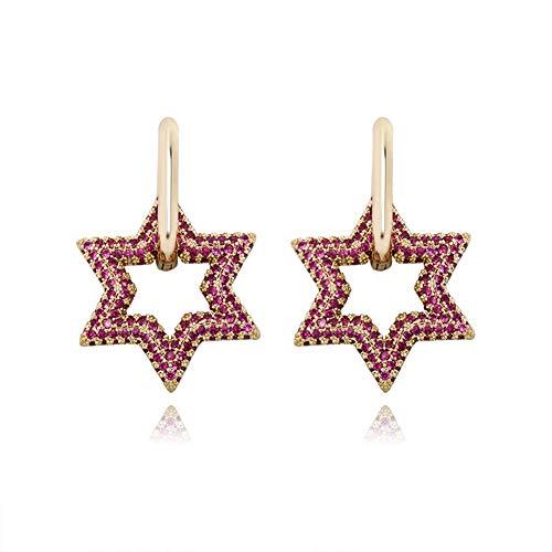 Cakunmik Hexagram Earrings Hip Hop Trend Women's Earrings Full of Zircon Fashion All-Match Earrings Valentine's Day Birthday Gifts,B