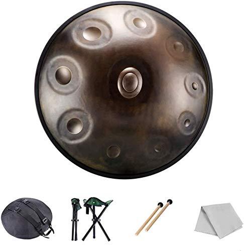 Tambor de Lengua de Acero, 10 notas de percusión de tambores de acero, 22 pulgadas / 55 cm Drum de chakra armónica, para música y sonido curativo religión yoga zen té, con bolsa de tambor de bolsas su