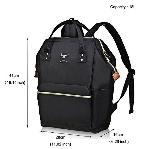BebamourCasual College Backpack Lightweight Travel Wide Open Back to School Backpack for Women&Men(Black)