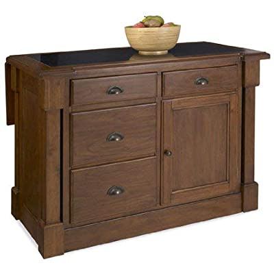 Aspen Rustic Cherry Kitchen Island with Granite Top by Home Styles by Home Styles