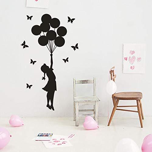 Home Decoration Ballon Meisje Verwijderbare Art Vinyl muurschildering Muursticker Home Decoration Spiegel 50x84cm