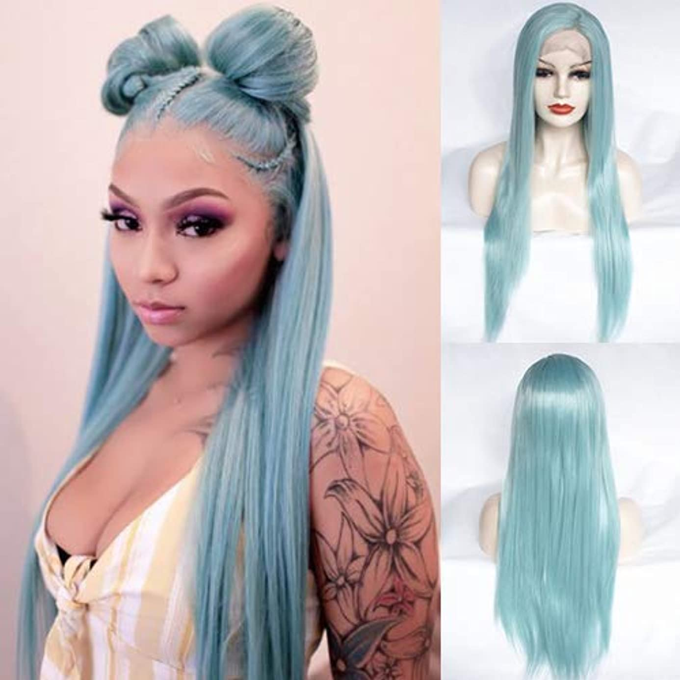 IVY HAIR Light Green Lace Front Wig Glueless Long Silky Stright Smokey Blue Synthetic Hair Wigs for Women Side Part Heat Resistant Fiber Wig Party Daily Wear Half Hand Tied 24Inches fff4687533